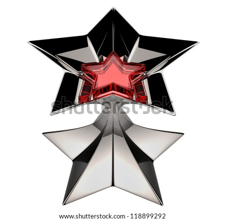shiny silver star with red star core in motion for advertise - stock photo