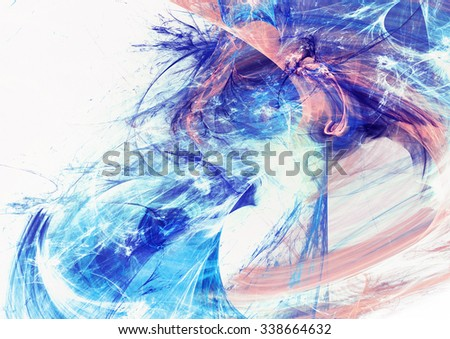 Shiny smoke in blue and pink color. Abstract futuristic dynamic bright background with lighting effect for creative graphic design. Icy winter pattern. Fractal artwork - stock photo