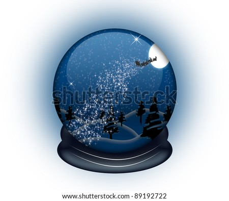 Shiny snow globe with Santa's sledge in it on magical background