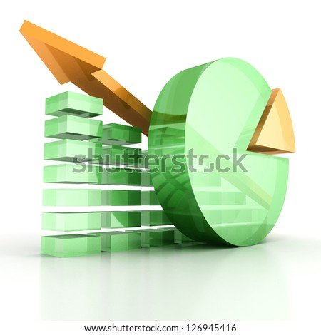 shiny succes bar and pie chart with growing arrow - stock photo