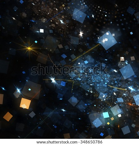 Shiny texture on holiday party. Abstract bright background with lighting effect for creative graphic design. Glowing festive decoration. Sparkle color pattern for a night disco party. Fractal art - stock photo
