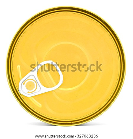 Shiny top of food can with pull-ring, isolated - stock photo