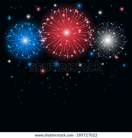 Shiny tricolor firework on the dark sky, illustration. - stock photo