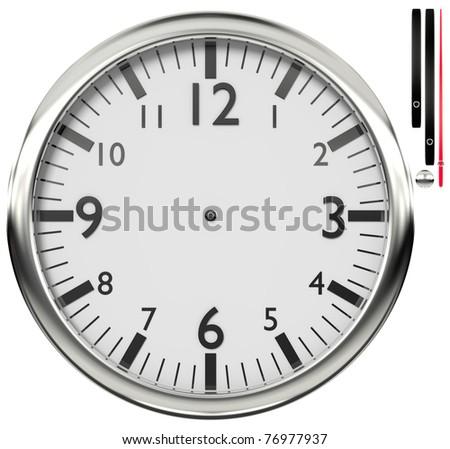 Shiny wall clock isolated on white background - stock photo