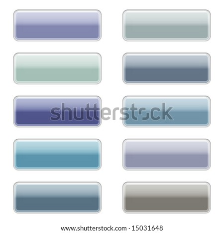 Shiny web buttons with reflection and shadows, isolated on white.