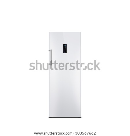 Shiny white steel freezer isolated on white. Glossy finish. The external LED display, with blue glow. Brushed stainless steel handle. Laminated.