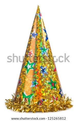 Shiny yellow party hat on white background - stock photo