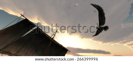 ship and Eagle flying in the clouds at dawn - stock photo