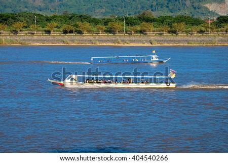ship at Golden Triangle Thailand - stock photo