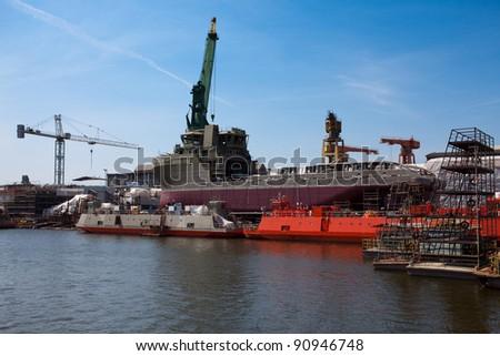Ship building, ship repair... - stock photo