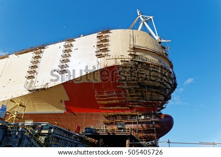 ship construct on slipway in shipyard
