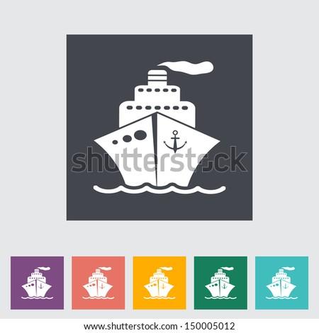 Ship flat icon. - stock photo