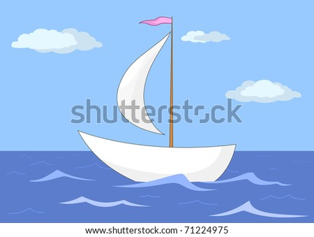 ship floats in the sea under a sail, from above the sky and clouds - stock photo