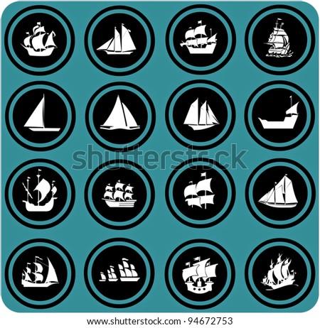 ship icons. Icon set Boats - stock photo