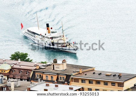 Ship in Montreux, Switzerland - stock photo