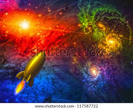 Ship in space - stock photo
