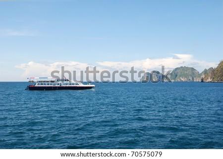 Ship in the Andaman Sea near PHI PHI island - stock photo