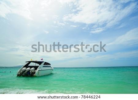 Ship in the clear sea Phuket Thailand - stock photo