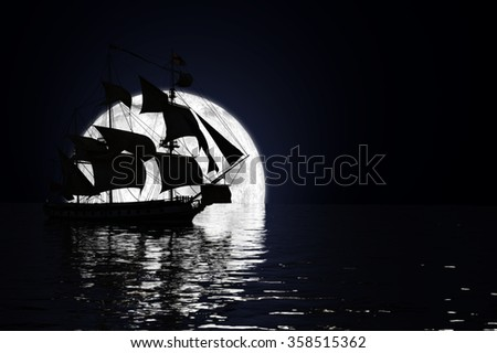 Ship in the Moonlight A frigate in full sail, silhouetted against a full moon on a calm sea 3d Render. - stock photo