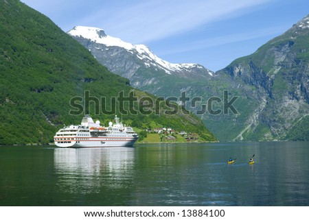 Ship in the ocean, Geiranger fjord, Norway view to the nature - stock photo