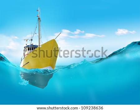 Ship in the sea. - stock photo