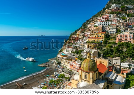 ship is approaching to Positano Italy Port Waterfront.  comune on the Amalfi Coast (Costiera Amalfitana) - stock photo