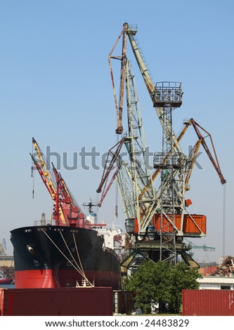 Ship is being loaded with wheat in Port of Varna, Bulgaria