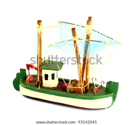 Ship model isolate on a white background - stock photo