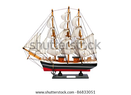 Ship model isolated on white background.