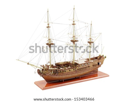 Ship model on a wooden stand.