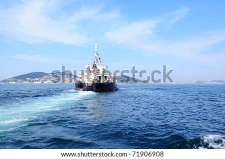 ship on sea - stock photo