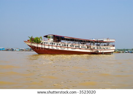 ship on the Tonle Sap lake, Cambodia - stock photo