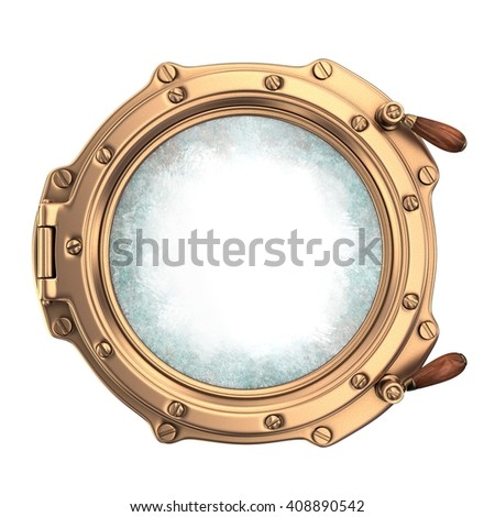 Ship porthole with with dirty glass. On white background. 3d render - stock photo