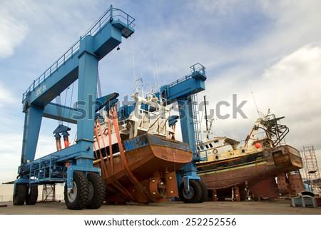 Ship repair - stock photo