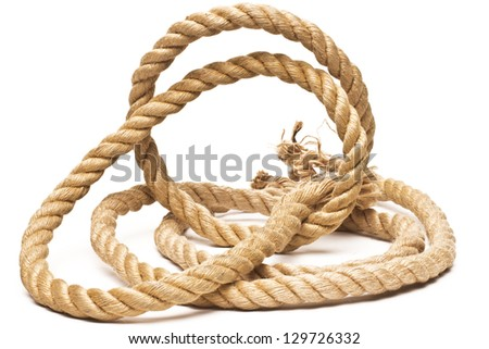 ship rope and knot isolated on white background - stock photo