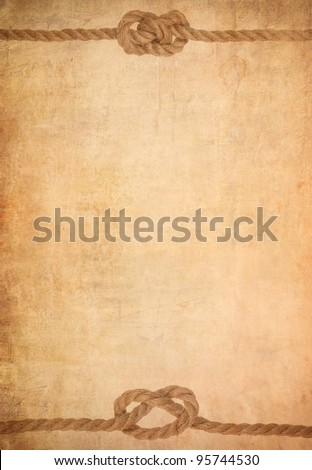 ship rope on old paper parchment background - stock photo