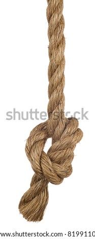 ship rope with knot isolated on white background - stock photo