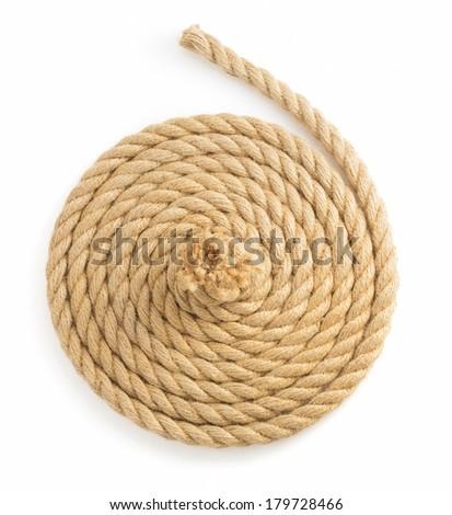 ship ropes isolated on white background - stock photo