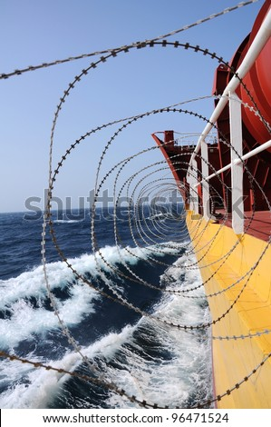 ship,s protection from pirates - stock photo