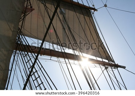 Ship's rigging - stock photo