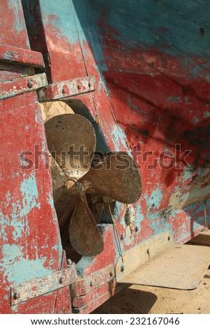 Ship screw propeller - stock photo