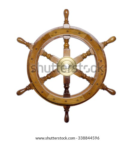 ship steering wheel isolated on white - stock photo