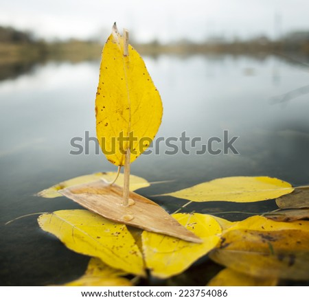 Ship.The yellow. leaves. fall. - stock photo