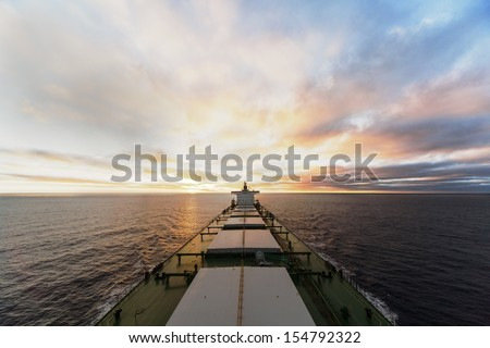 ship underway viewed from bow - stock photo