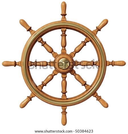 Ship wheel (3d illustration) - stock photo