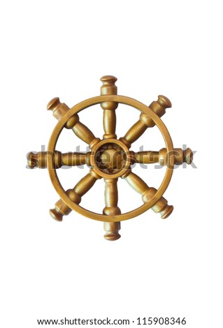 Ship wheel on a white background