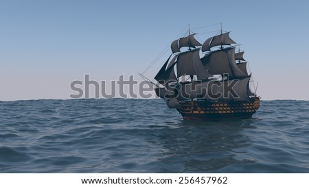 ship with black sales in the ocean
