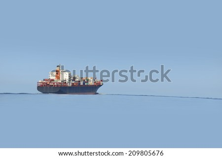 Ship with containers - stock photo