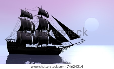 ship with water reflection - stock photo