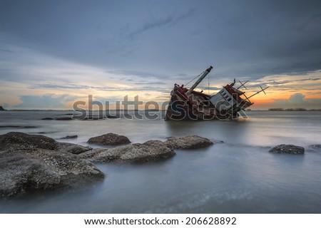 ship wrecked - stock photo